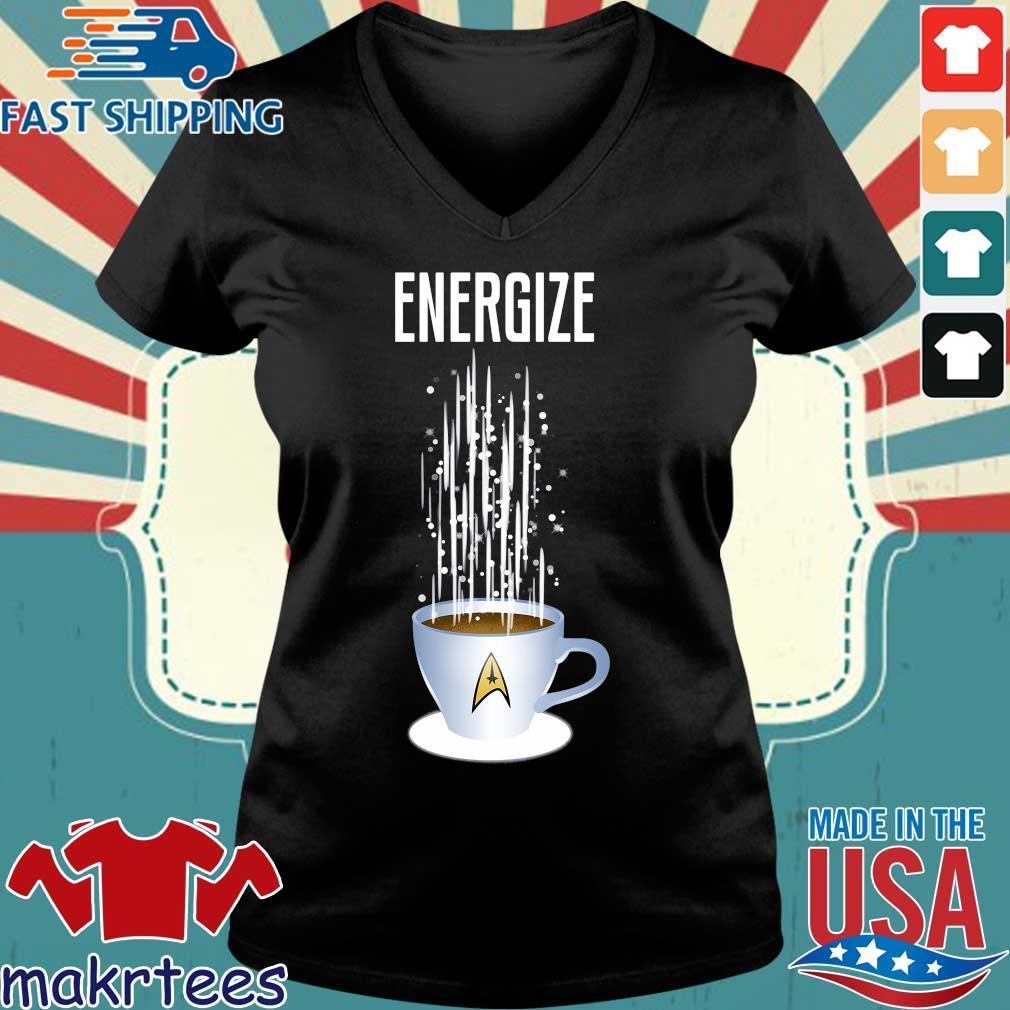 Energize Star Trek Coffee Shirt Ladies V-neck den