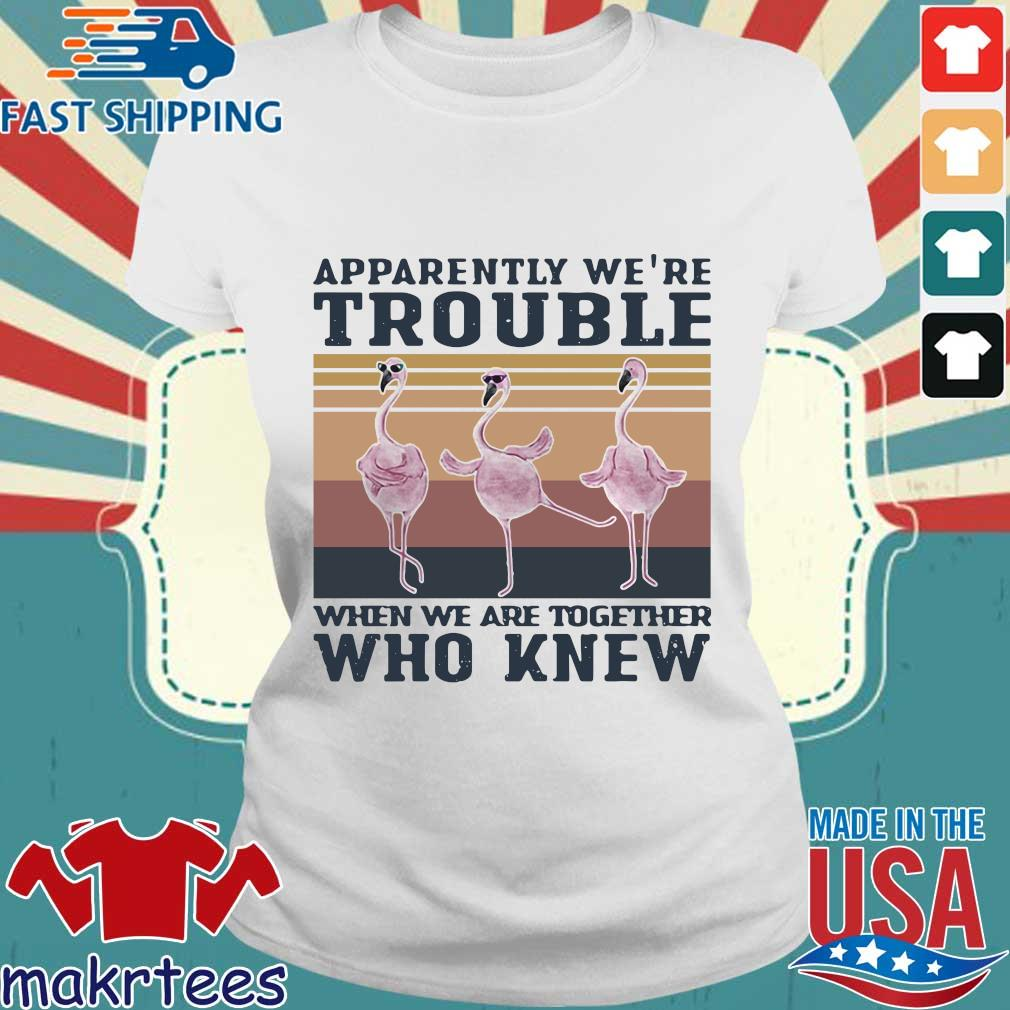 Flamingo Apparently Were Trouble When We Are Together Who Knew Vintage Shirt Ladies trang