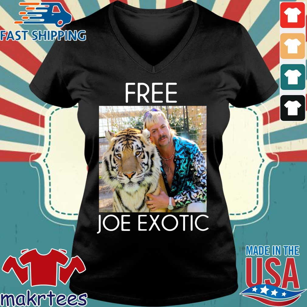 Free Joe Exotic Shirt Tiger King Tee Shirt Ladies V-neck den