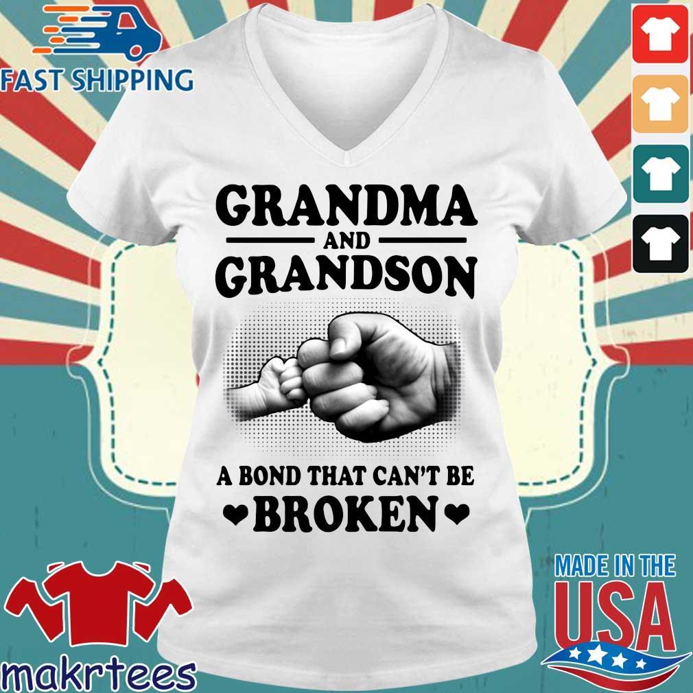 Grandma And Grandson A Bond That Can't Be Broken Shirt Ladies V-neck trang