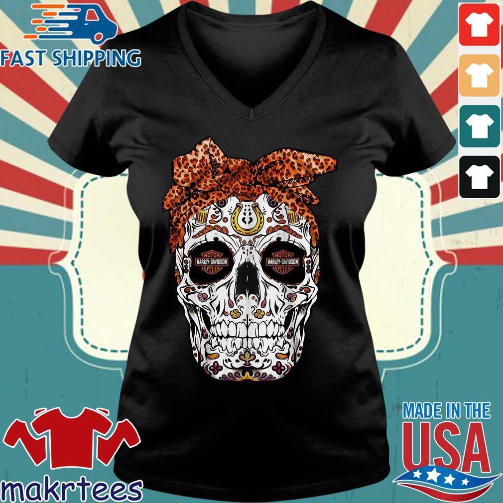 Harley-davidson Suger Skull Leopard Bow Shirt Ladies V-neck den