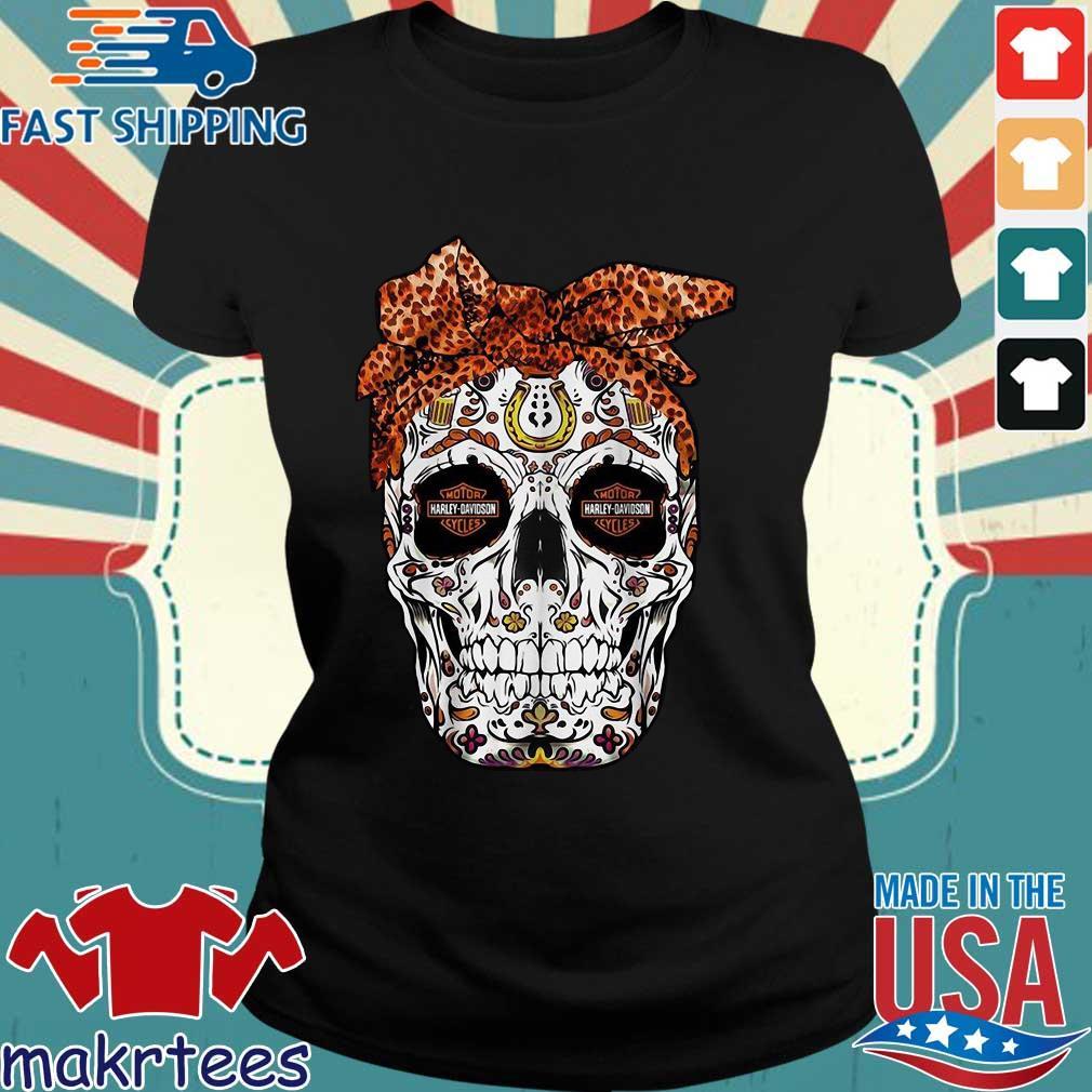 Harley-davidson Suger Skull Leopard Bow Shirt Ladies den