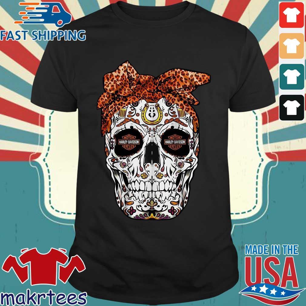 Harley-davidson Suger Skull Leopard Bow Shirt