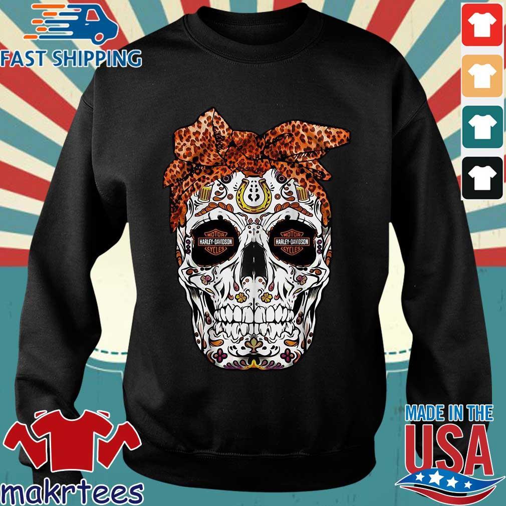 Harley-davidson Suger Skull Leopard Bow Shirt Sweater den