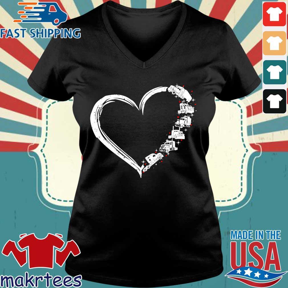 Heart Truck I Love Trucker Shirt Ladies V-neck den