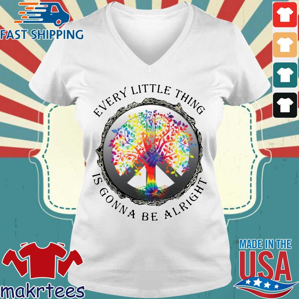 Hippie Tree Every Little Thing Is Gonna Be Alright Shirt Ladies V-neck trang