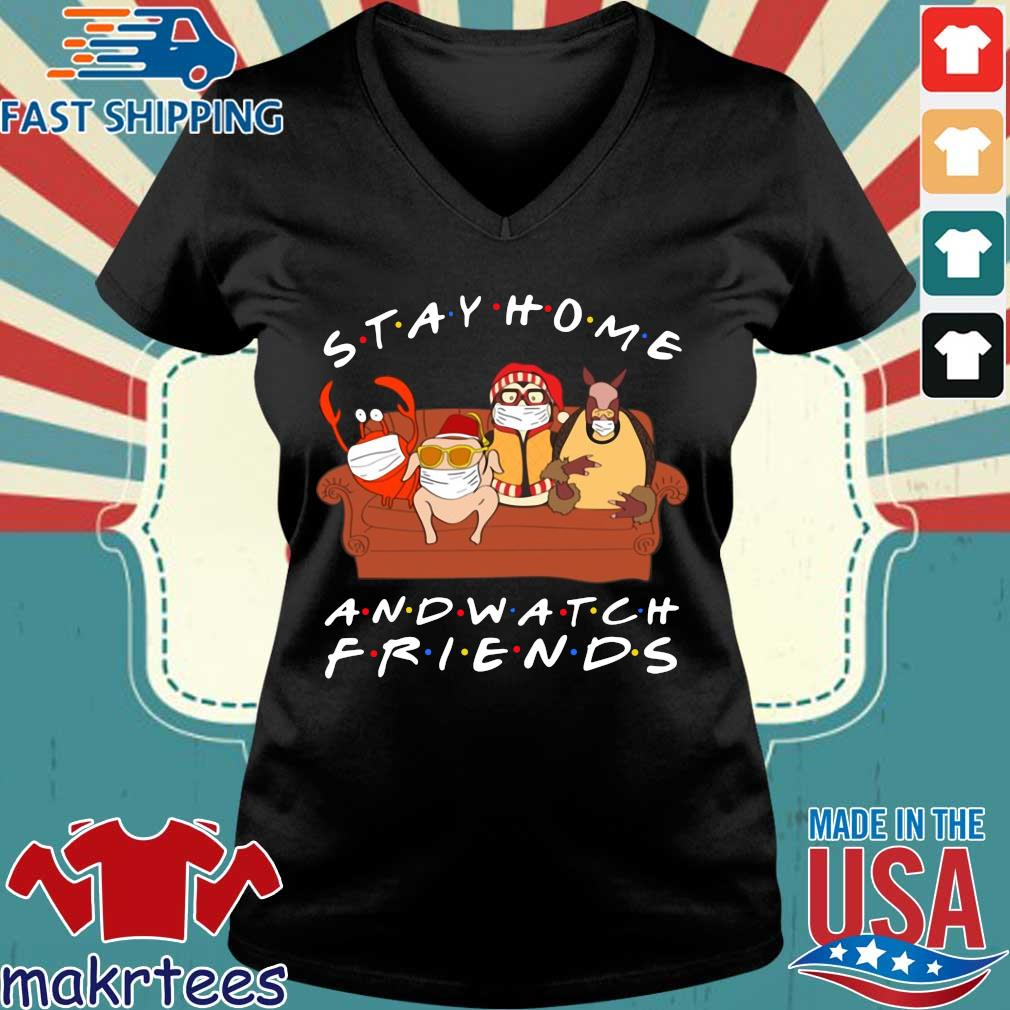 Hugsy Stay Home And Watch Friends Tee Shirts Ladies V-neck den
