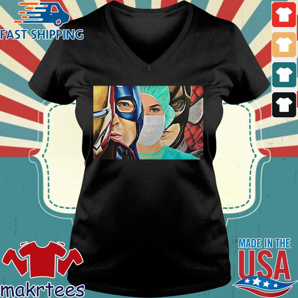 Iron Man Captain Batman Spiderman Nurse Poster Canvas Shirt Ladies V-neck den