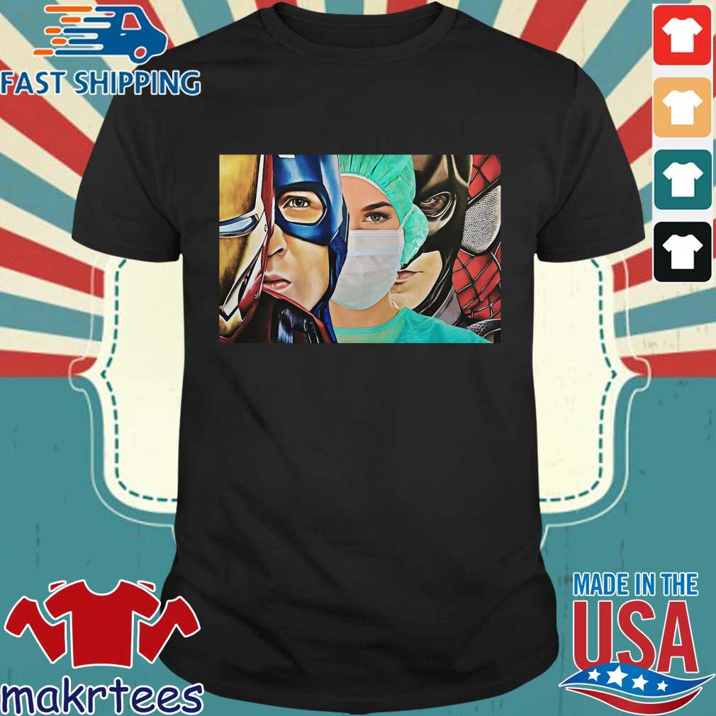 Iron Man Captain Batman Spiderman Nurse Poster Canvas Shirt