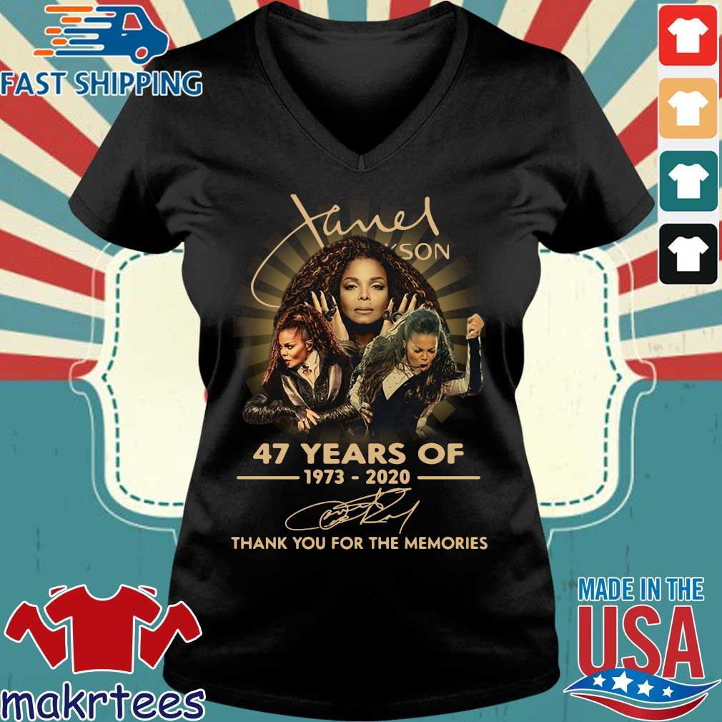 Janet Jackson 47 Years Of 1973-2020 Thank You For The Memories Signature Shirt Ladies V-neck den