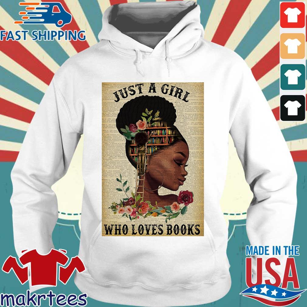 Just A Girl Who Loves Books Black Girl Reading Vertical Poster Shirt Hoodie trang