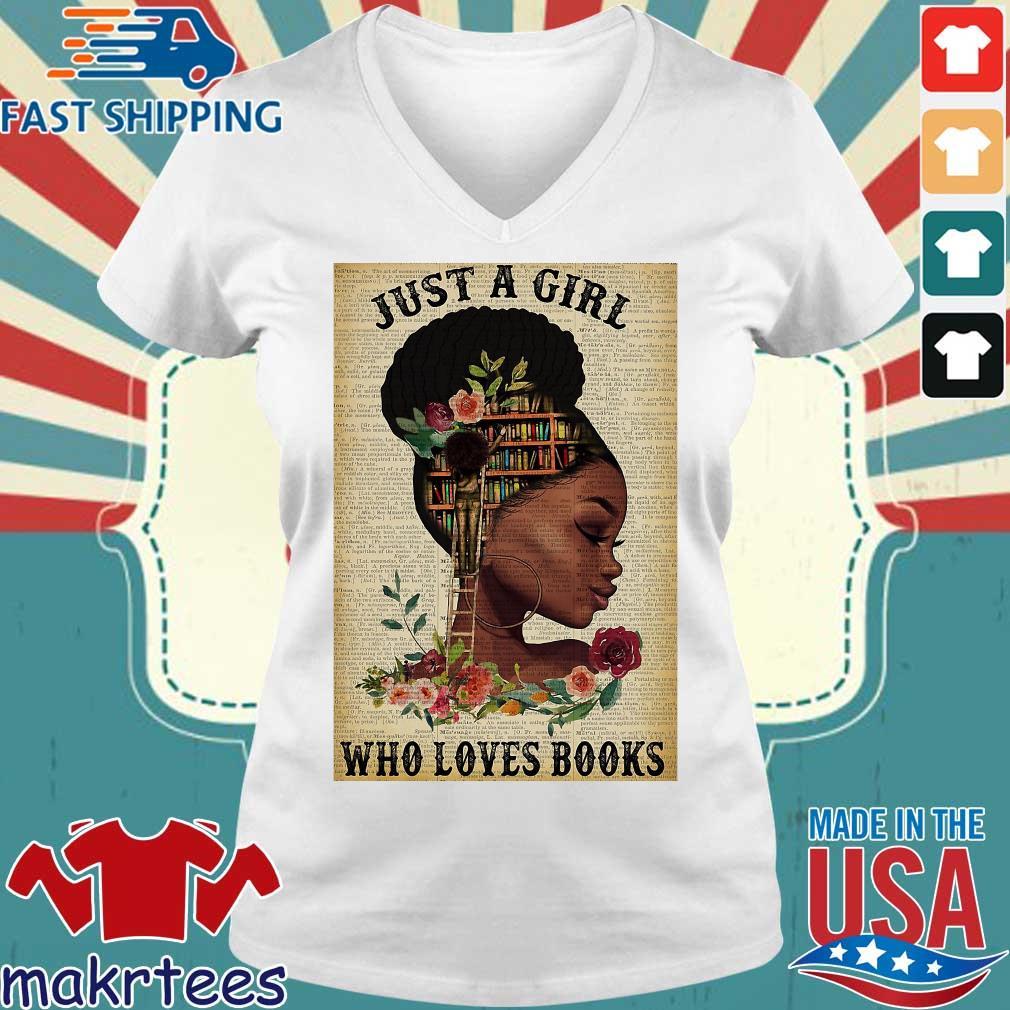Just A Girl Who Loves Books Black Girl Reading Vertical Poster Shirt Ladies V-neck trang