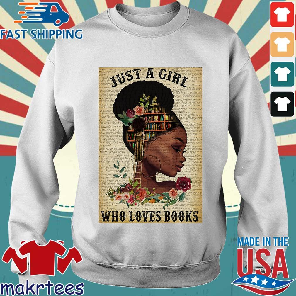 Just A Girl Who Loves Books Black Girl Reading Vertical Poster Shirt Sweater trang