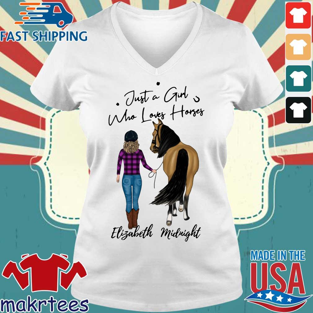 Just A Girl Who Loves Horse Elizabeth Midnight Shirt Ladies V-neck trang