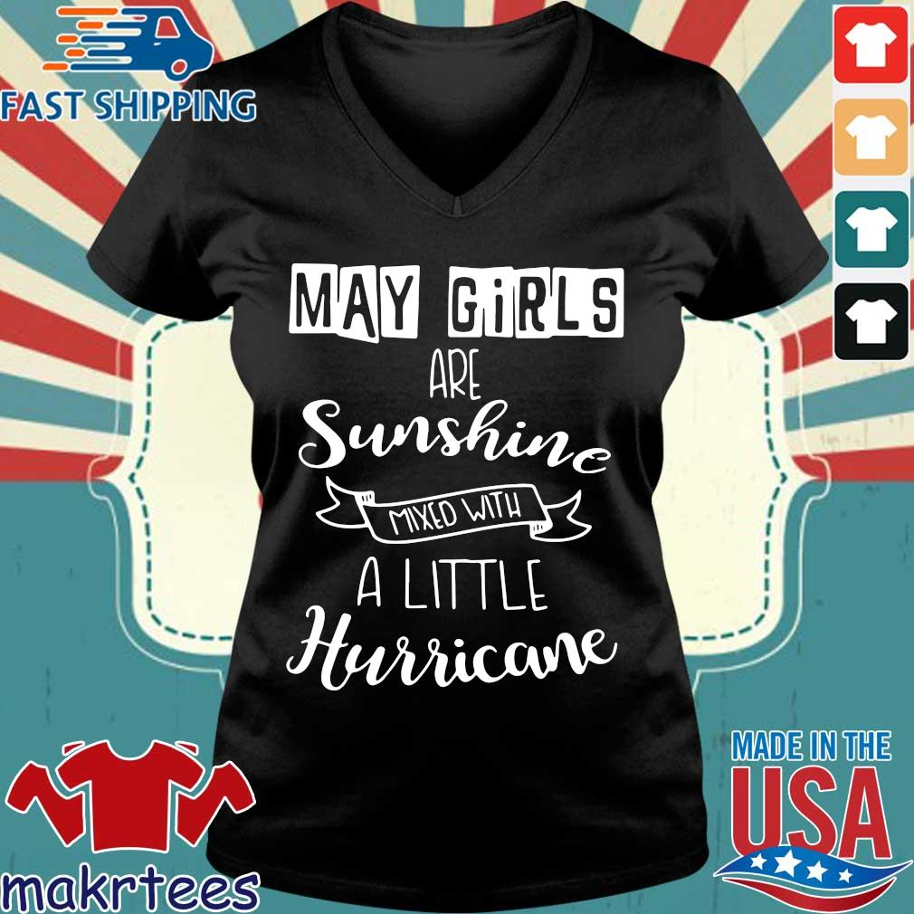 May Girls Are Sunshine Mxed With A Little Hurricane 2020 Shirt Ladies V-neck den