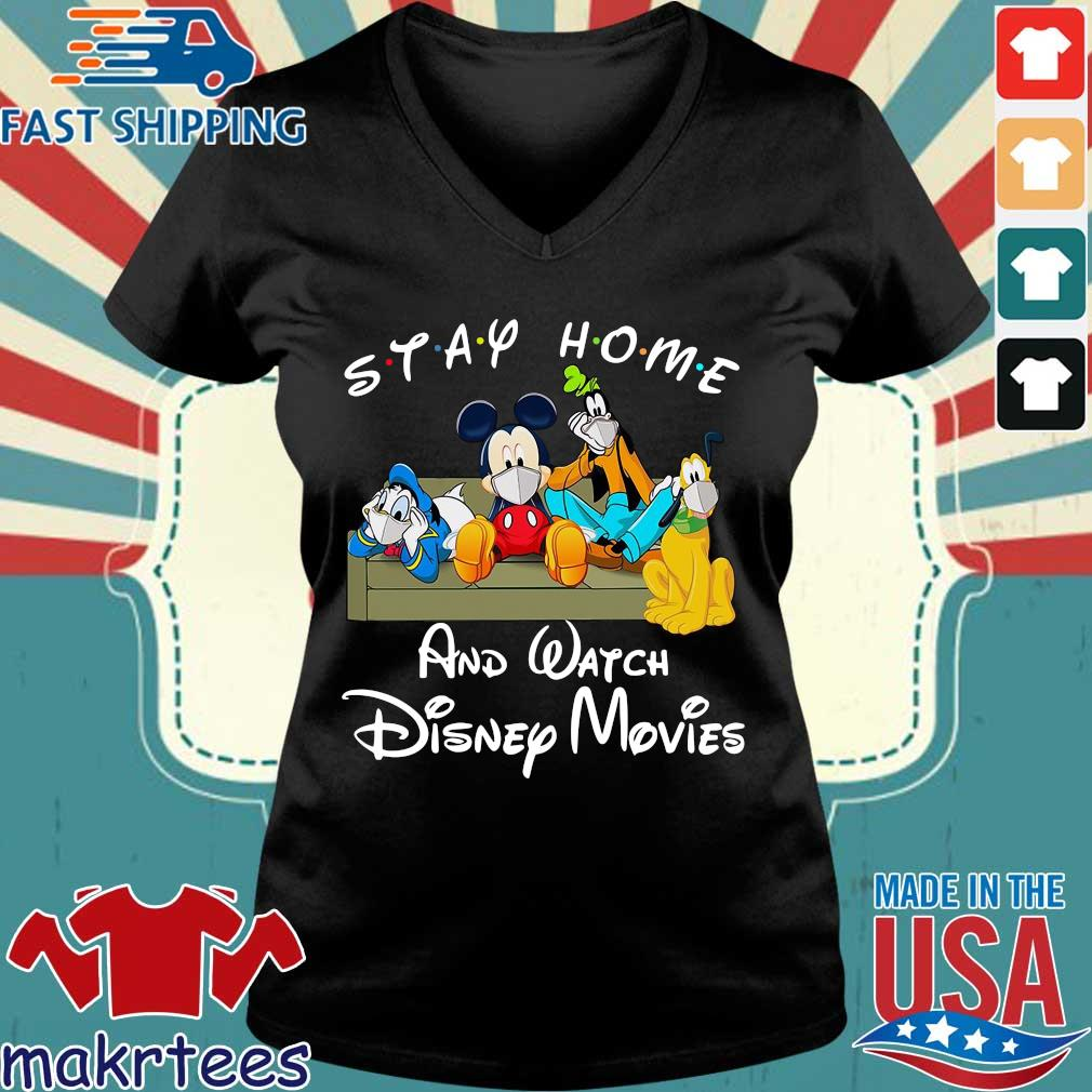 Mickey And Friends Stay Home And Watch Disney Movies Shirt Ladies V-neck den