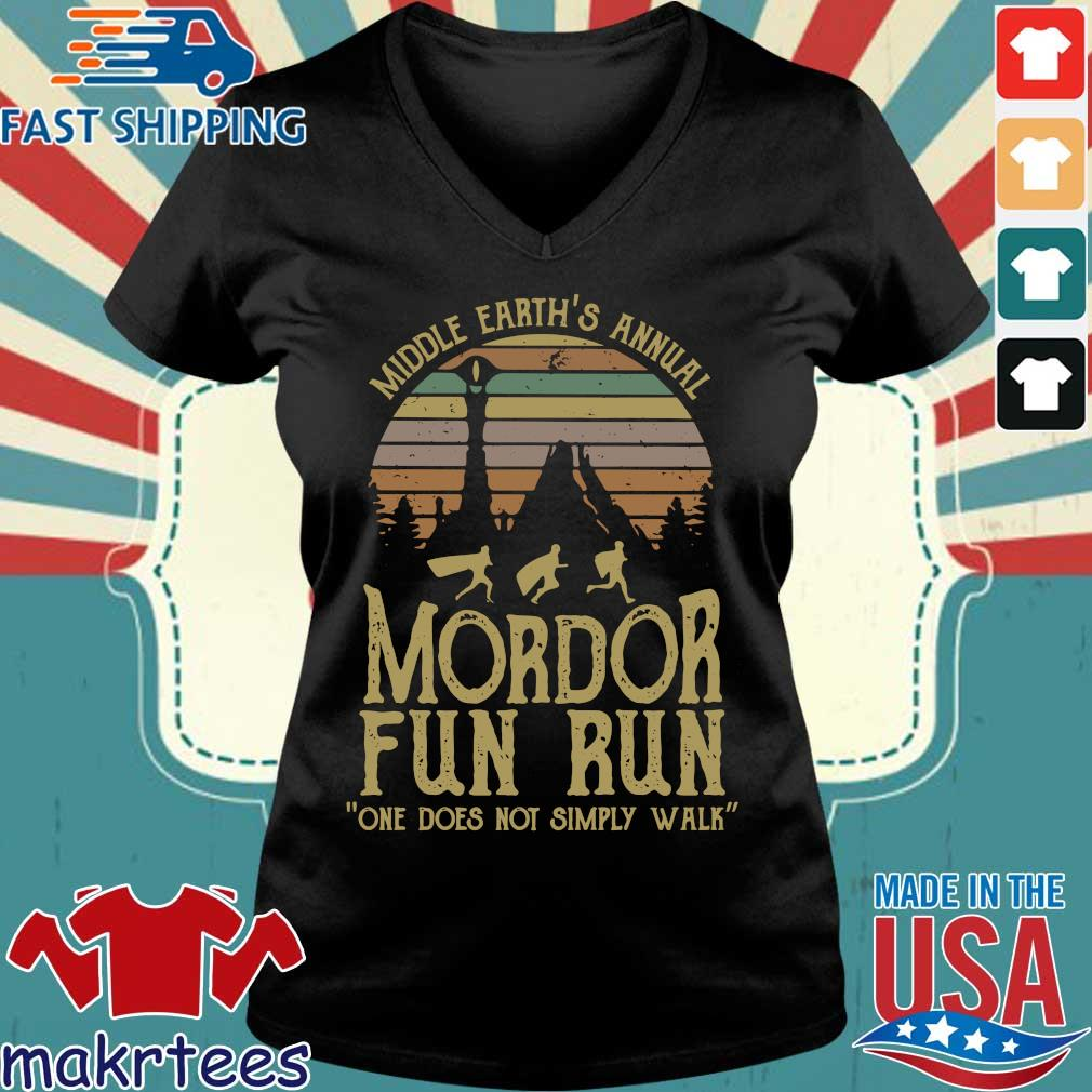 Middle Earth's Annual Mordor Fun Run One Does Not Simply Walk Vintage Shirt Ladies V-neck den