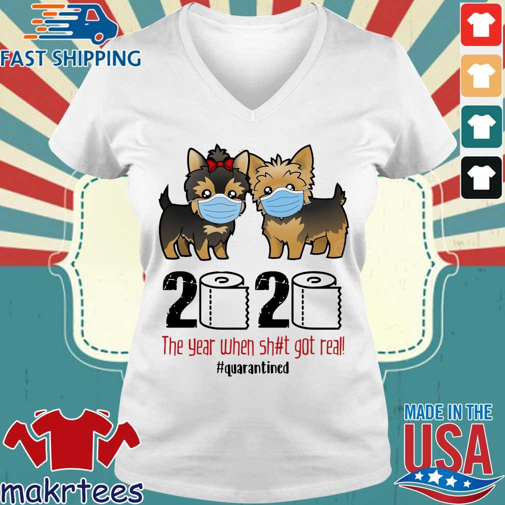 Miniature Schnauzer 2020 the year when shit gt real #quarantined s Ladies V-neck trang
