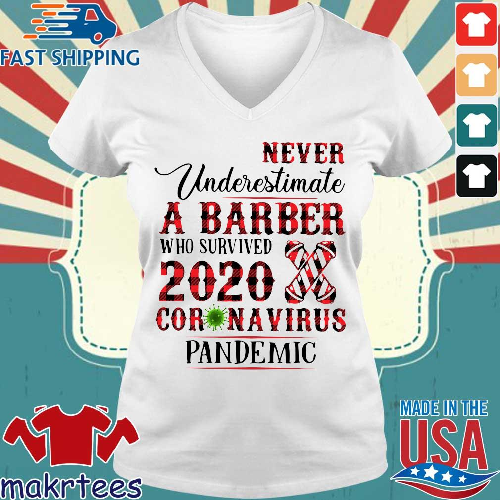 Never Underestimate A Barber Who Survived 2020 Coronavirus Pandemic Shirt Ladies V-neck trang