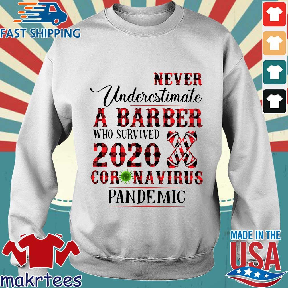 Never Underestimate A Barber Who Survived 2020 Coronavirus Pandemic Shirt Sweater trang