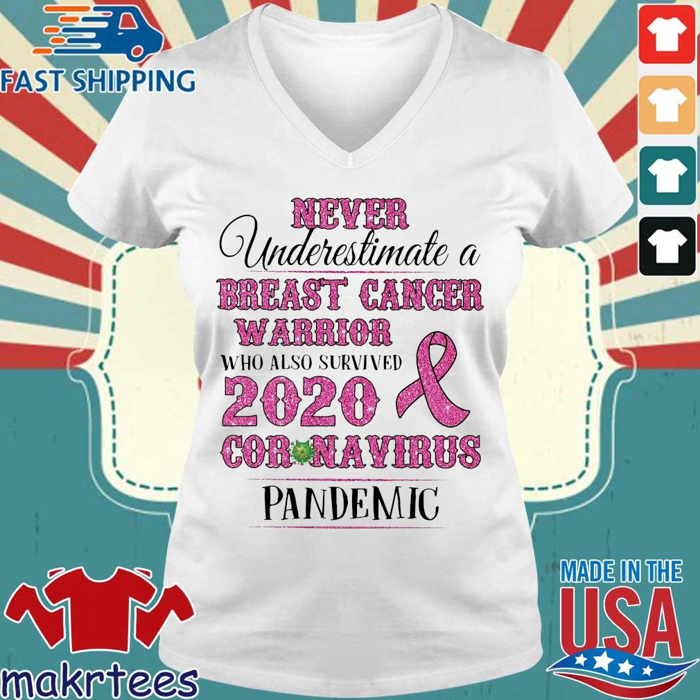 Never Underestimate A Breast Cancer Warrior Who Also Survived 2020 Coronavirus Pandemic Shirt Ladies V-neck trang