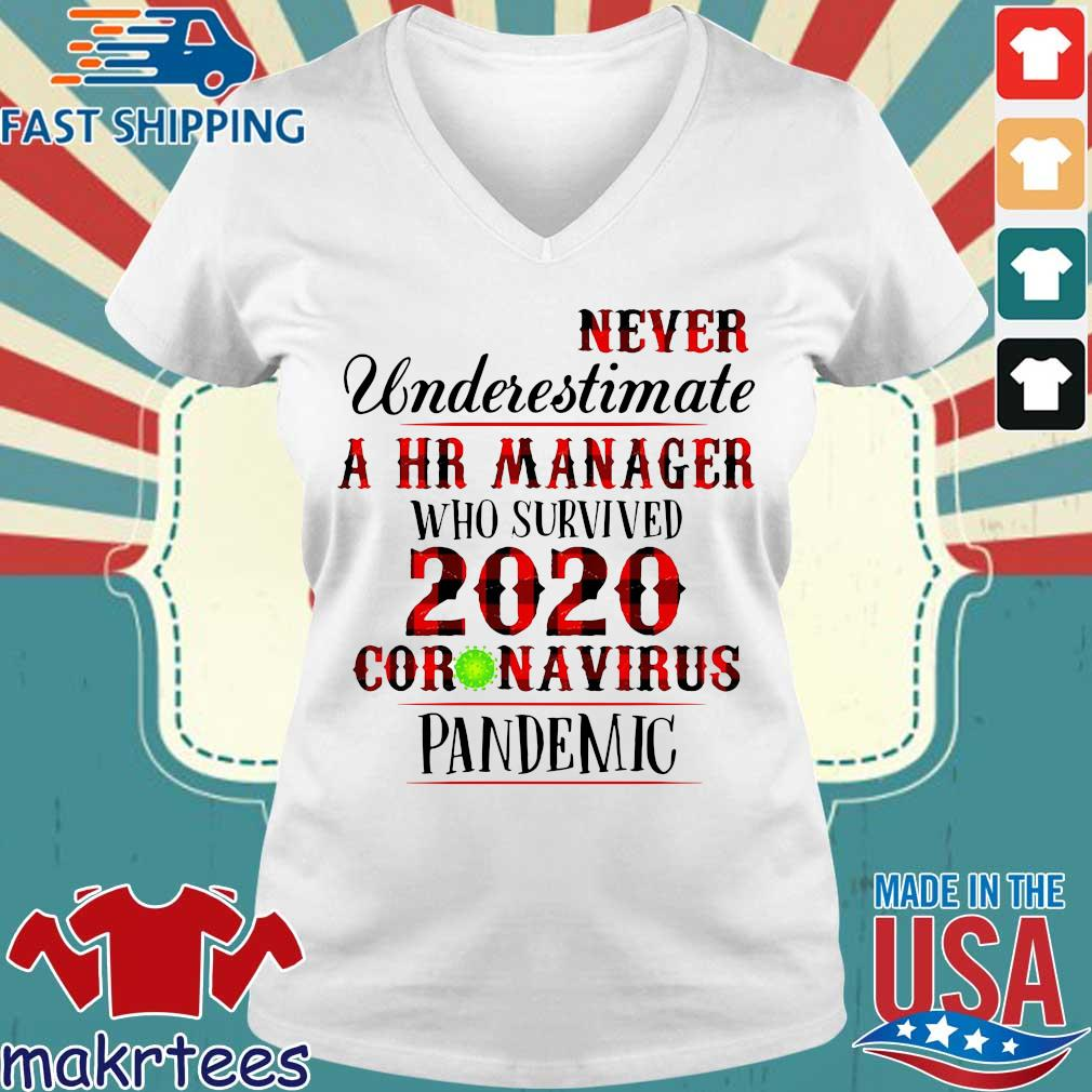 Never Underestimate A Hr Manager Who Survived 2020 Pandemic Shirt Ladies V-neck trang