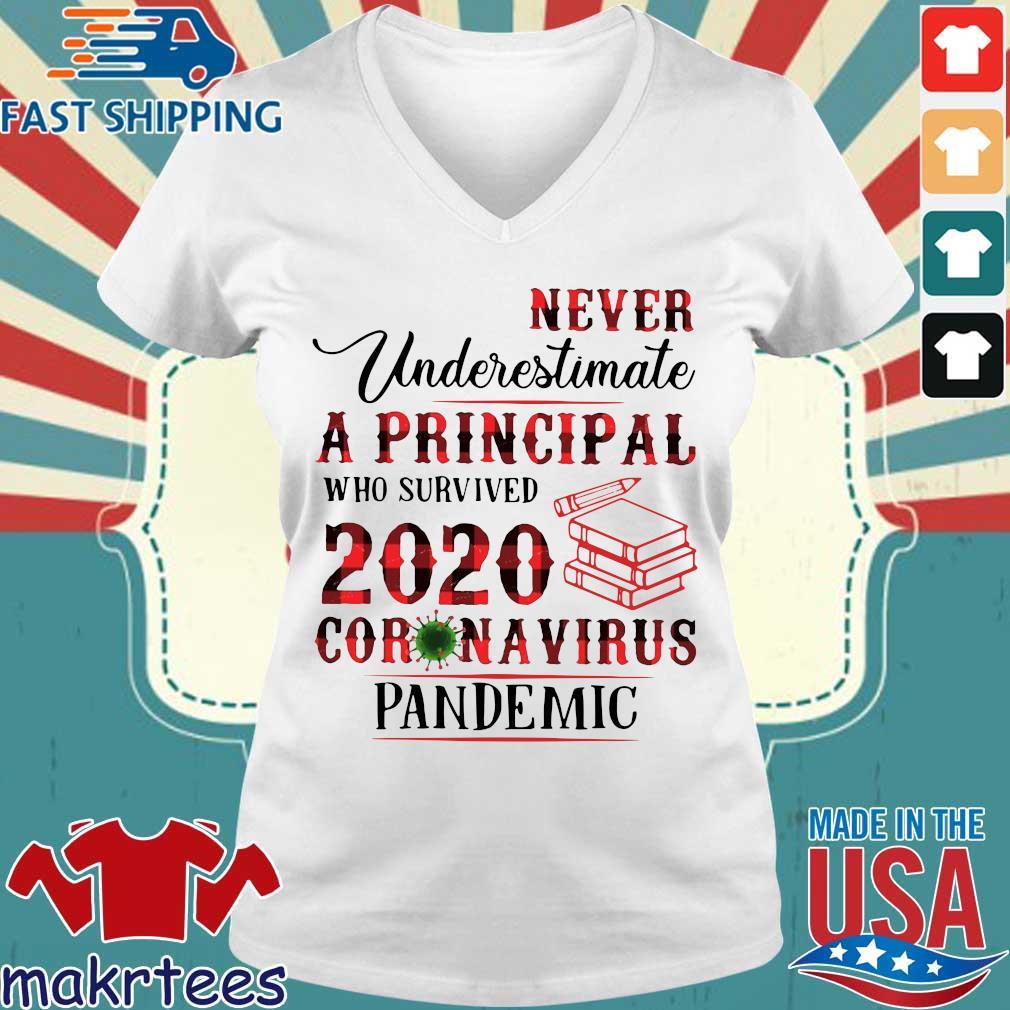 Never Underestimate A Principal Who Survived 2020 Corona Virus Pandemic Shirt Ladies V-neck trang