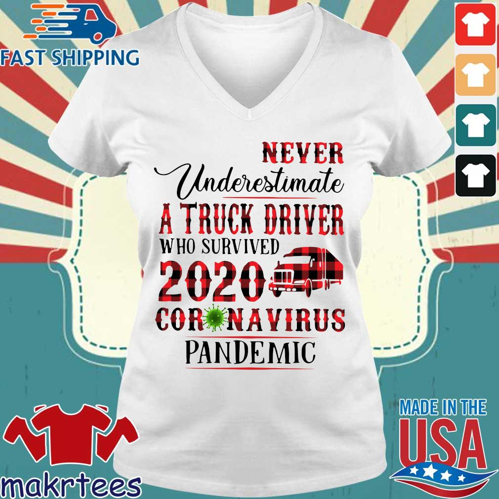 Never Underestimate A Truck Driver Who Survived 2020 Coronavirus Pandemic Shirt Ladies V-neck trang