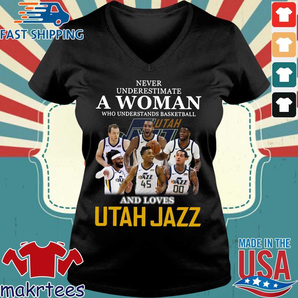 Never Underestimate A Woman Who Understands Baseball And Loves Utah Jazz Shirt Ladies V-neck den
