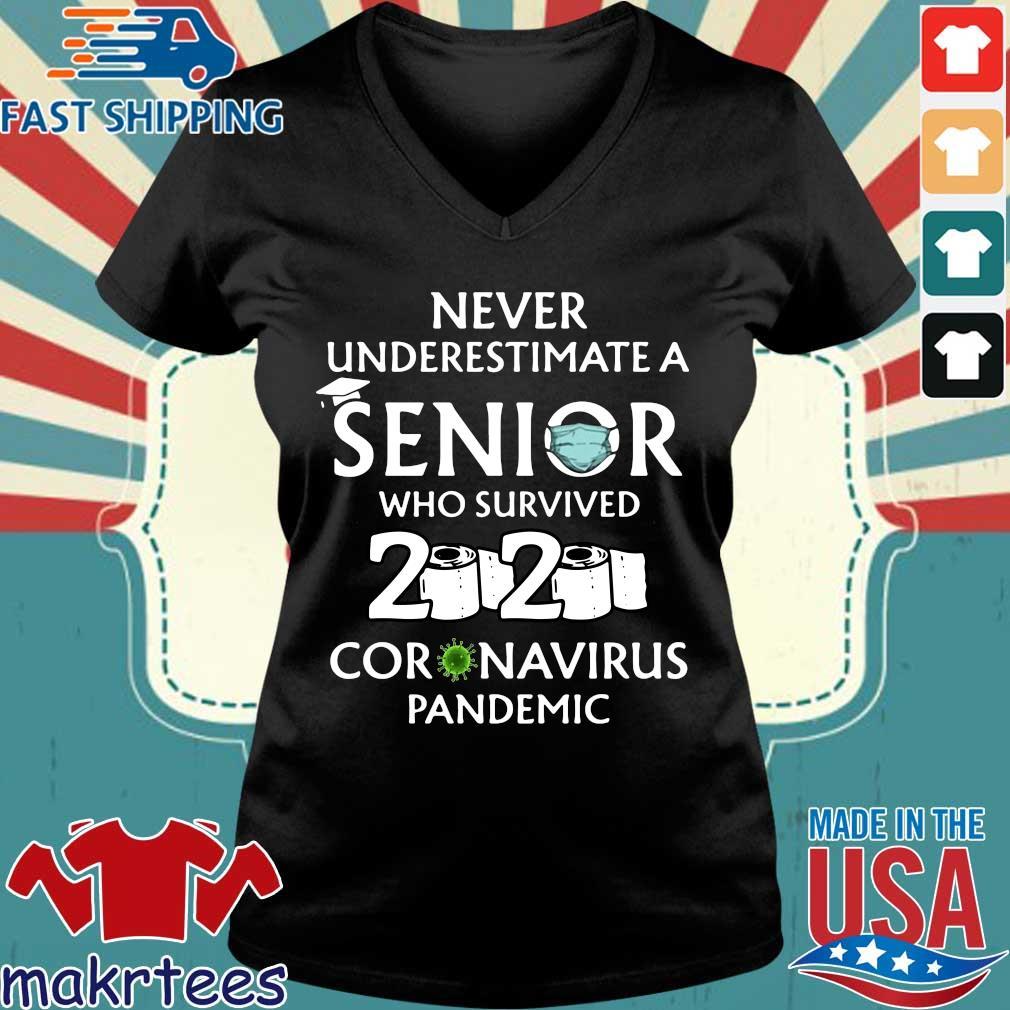 Never Underestimate An Senior Who Survived 2020 Coronavirus Pandemic Shirt Ladies V-neck den