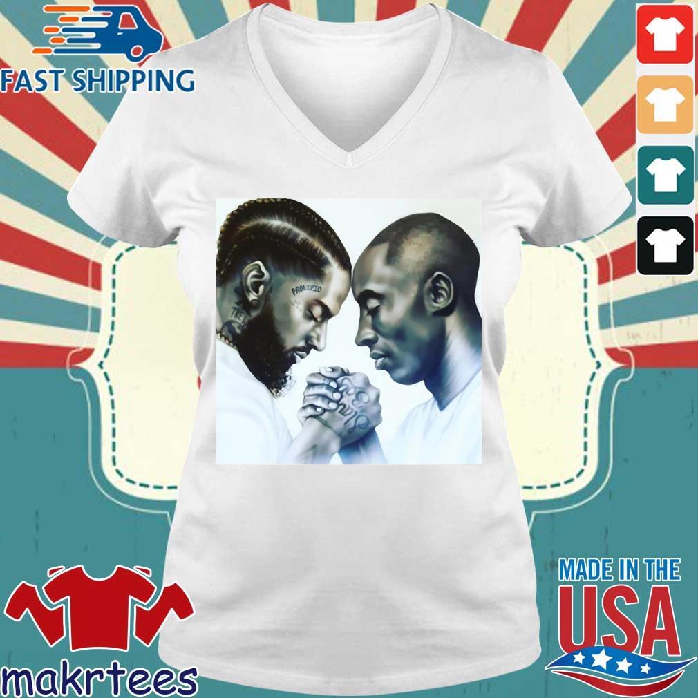 Nipsey Hussle And Kobe Bryant Forever Tee Shirts Ladies V-neck trang