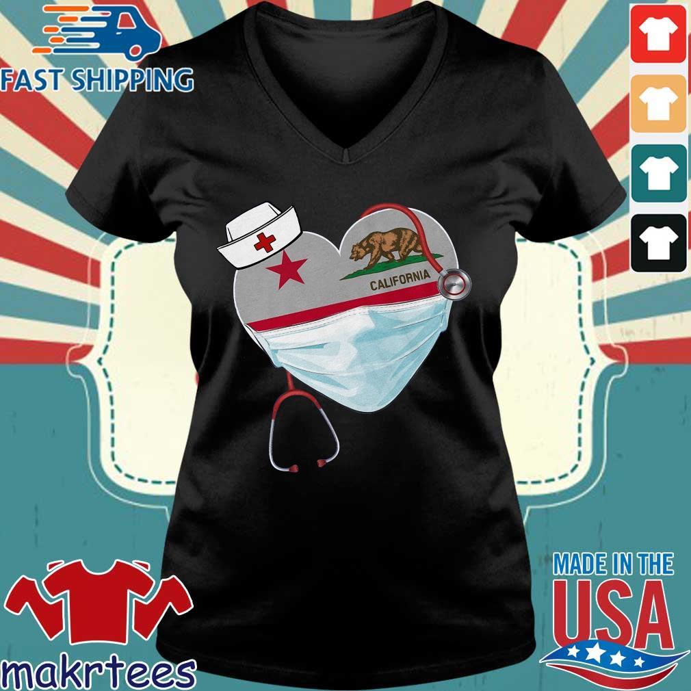 Nurse Heart Stethoscope California Shirt Ladies V-neck den