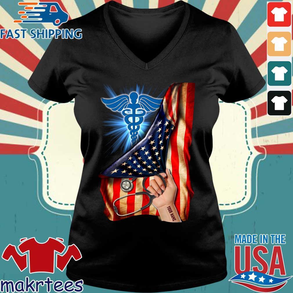 Nurse Logo American Flag Shirt Ladies V-neck den