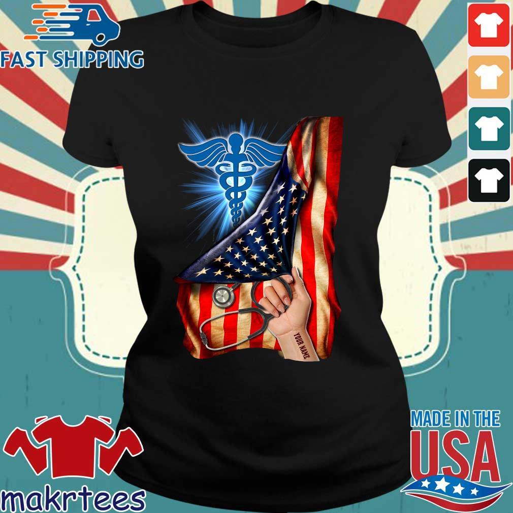 Nurse Logo American Flag Shirt Ladies den