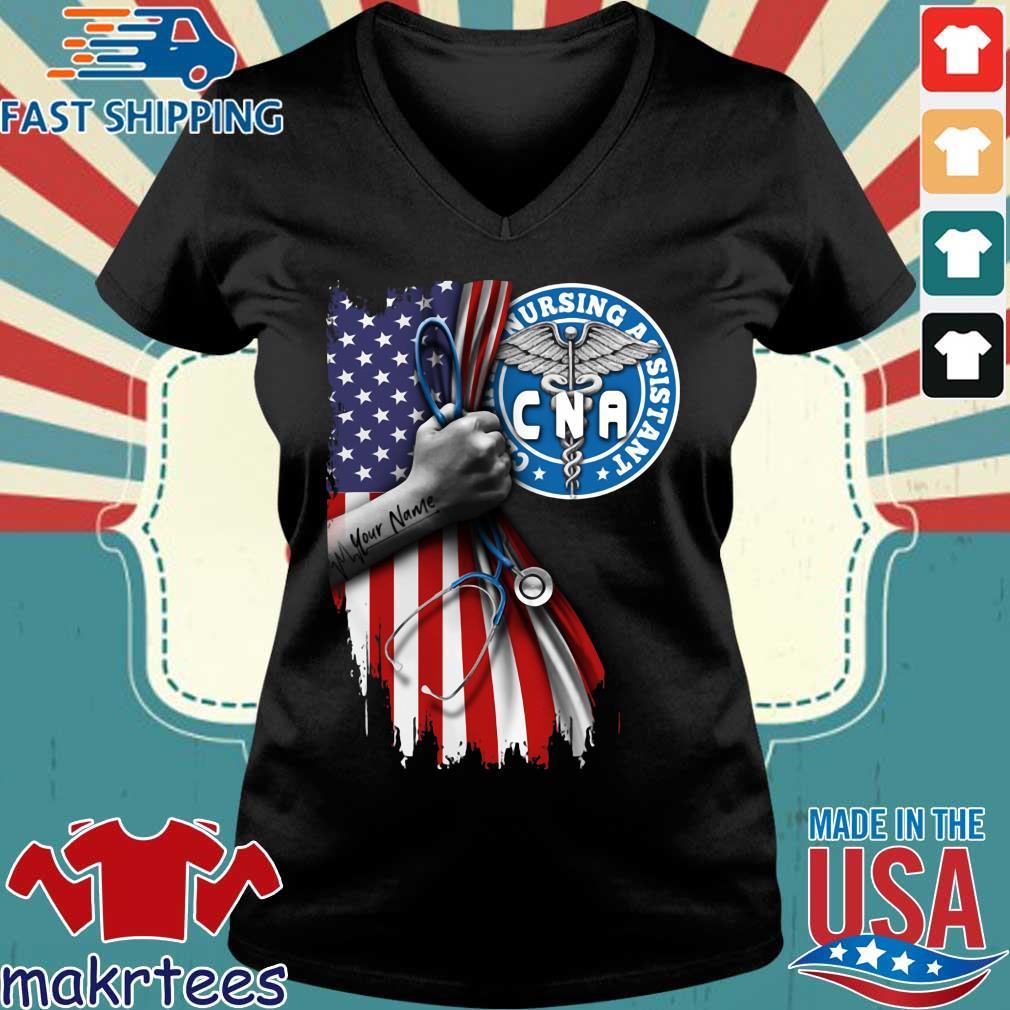 Nurse Strong American Flag Cna Certified Nursing Assistant Shirt Ladies V-neck den