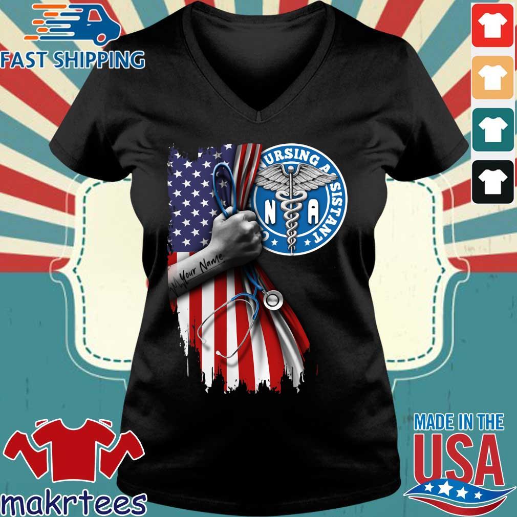 Nurse strong american flag NA certified nursing assistant s Ladies V-neck den