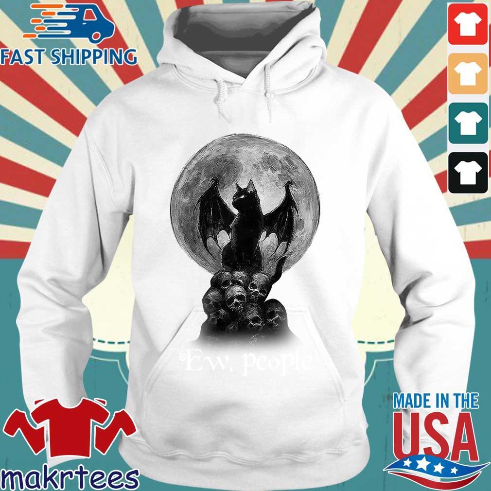 Official Bat And Black Cat Moon Skull Ew People Shirt Hoodie trang
