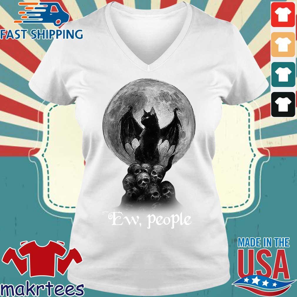 Official Bat And Black Cat Moon Skull Ew People Shirt Ladies V-neck trang