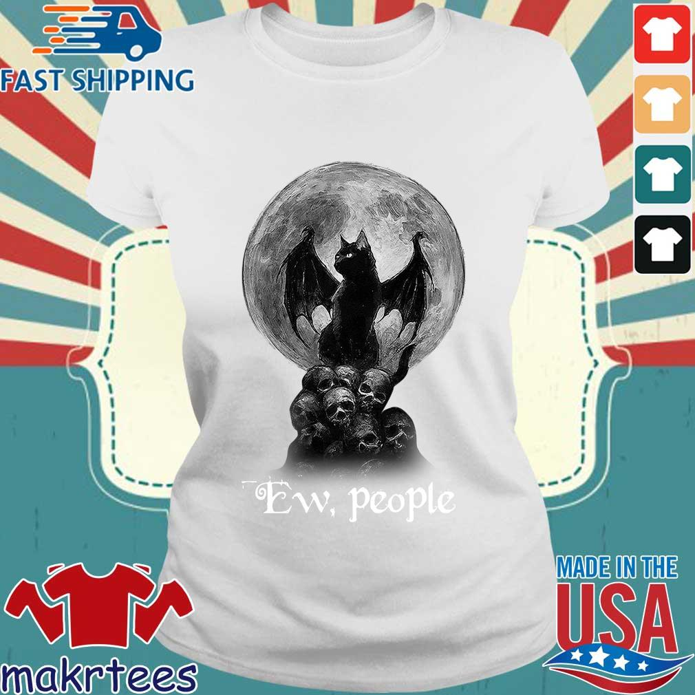 Official Bat And Black Cat Moon Skull Ew People Shirt Ladies trang