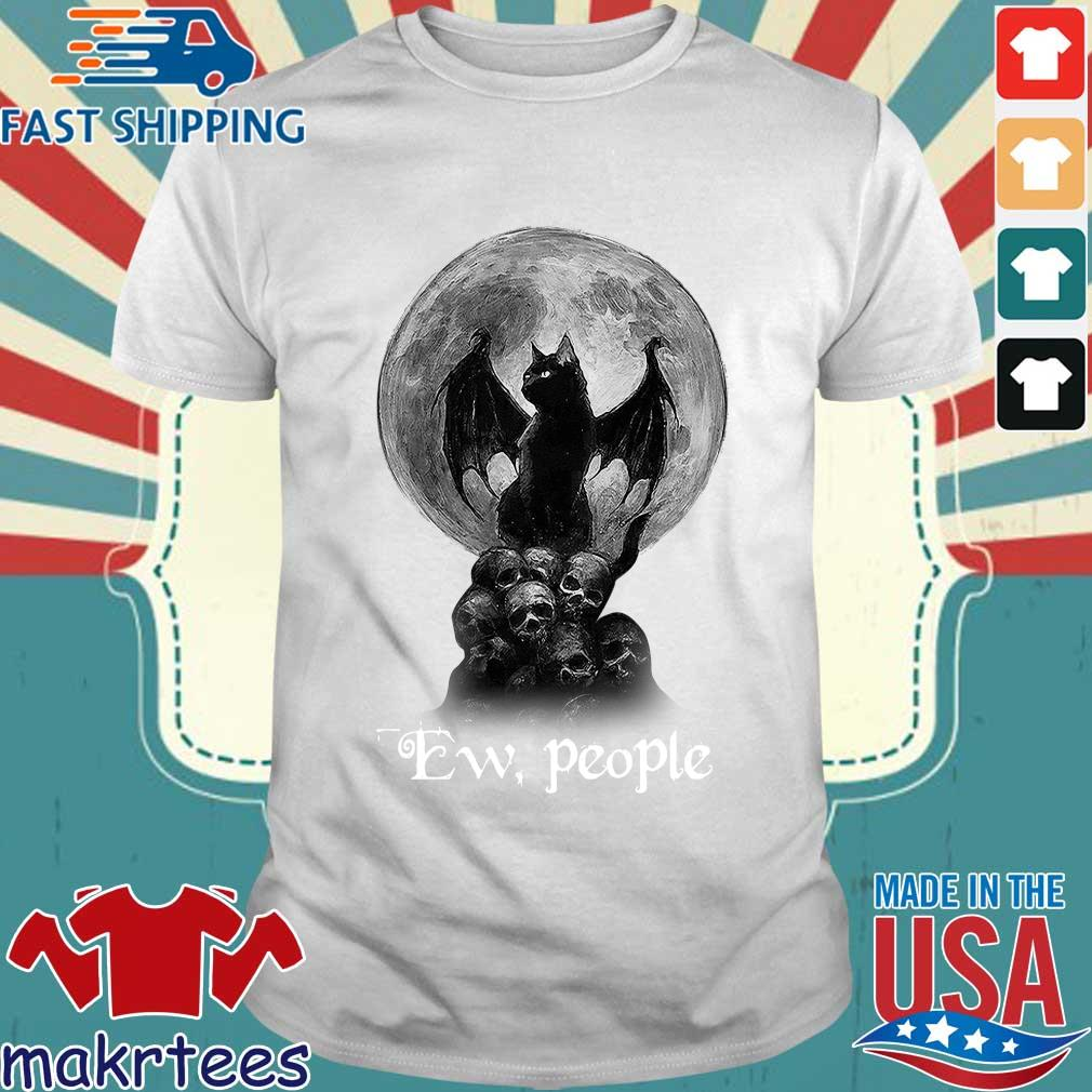 Official Bat And Black Cat Moon Skull Ew People Shirt