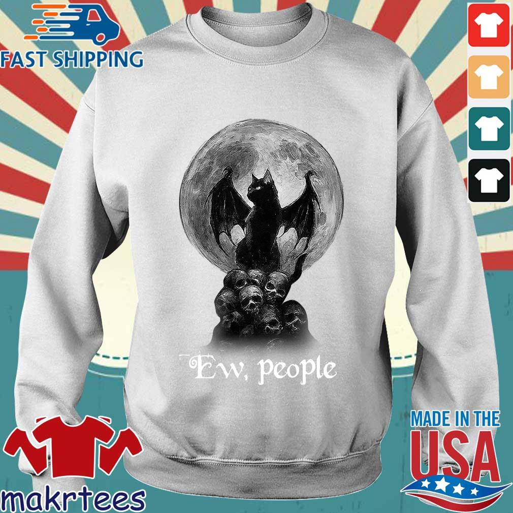 Official Bat And Black Cat Moon Skull Ew People Shirt Sweater trang