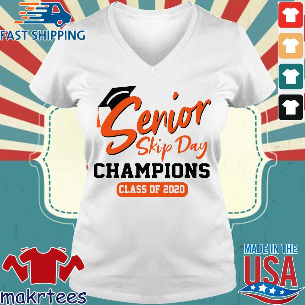 Orange Senior Skip Day Champions Class Of 2020 Shirt Ladies V-neck trang