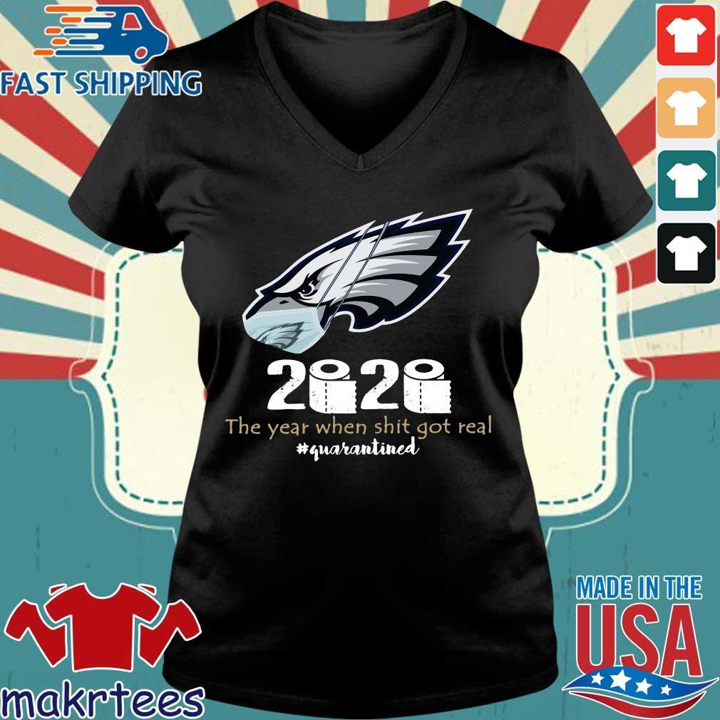 Philadelphia Eagles Face Mask 2020 Toilet Paper The Year When Shit Got Real Quarantined Shirt Ladies V-neck den