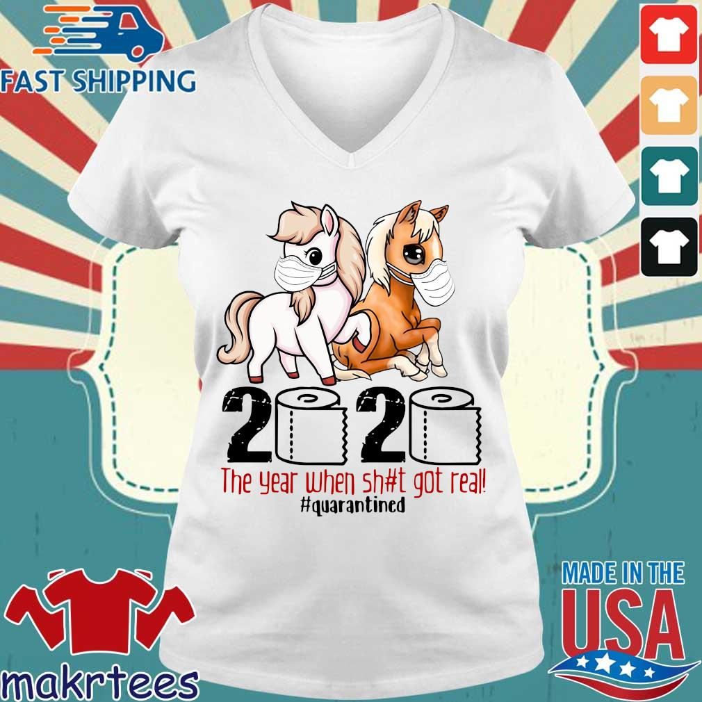 Pink Horse And Brown Horse 2020 Toilet Paper The Year When Shit Got Real Quarantined Shirt Ladies V-neck trang