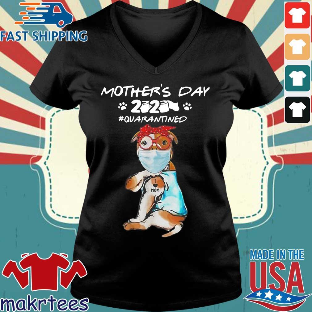 Pitbull Mask Tattoo I Love Mom Mother's Day 2020 Toilet Paper Quarantined Shirt Ladies V-neck den
