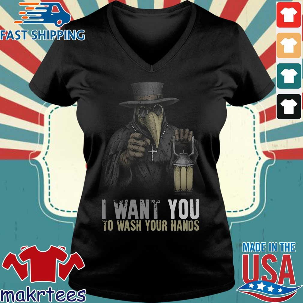 Plague Doctor I Want You To Wash Your Hands T-Shirt Ladies V-neck den