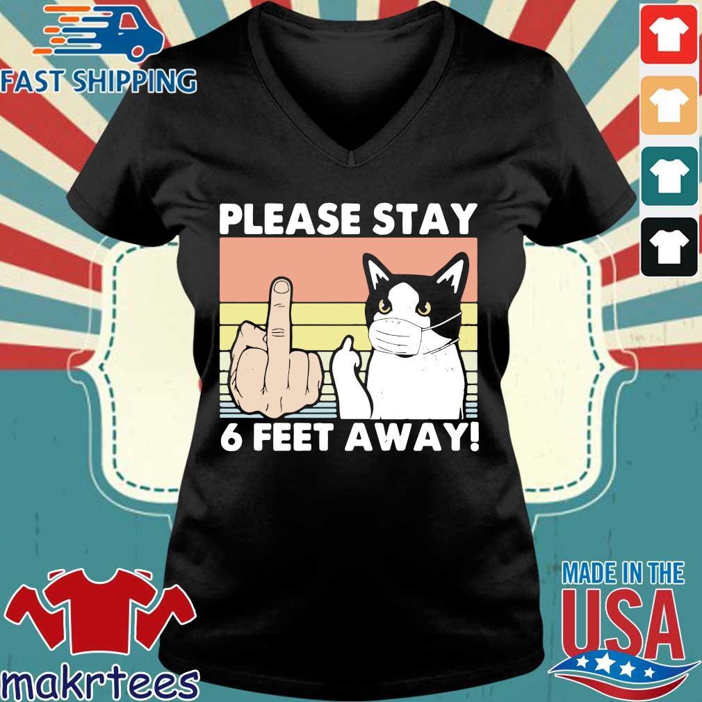 Please Stay 6 Feet Away Cat Vintage Shirt Ladies V-neck den