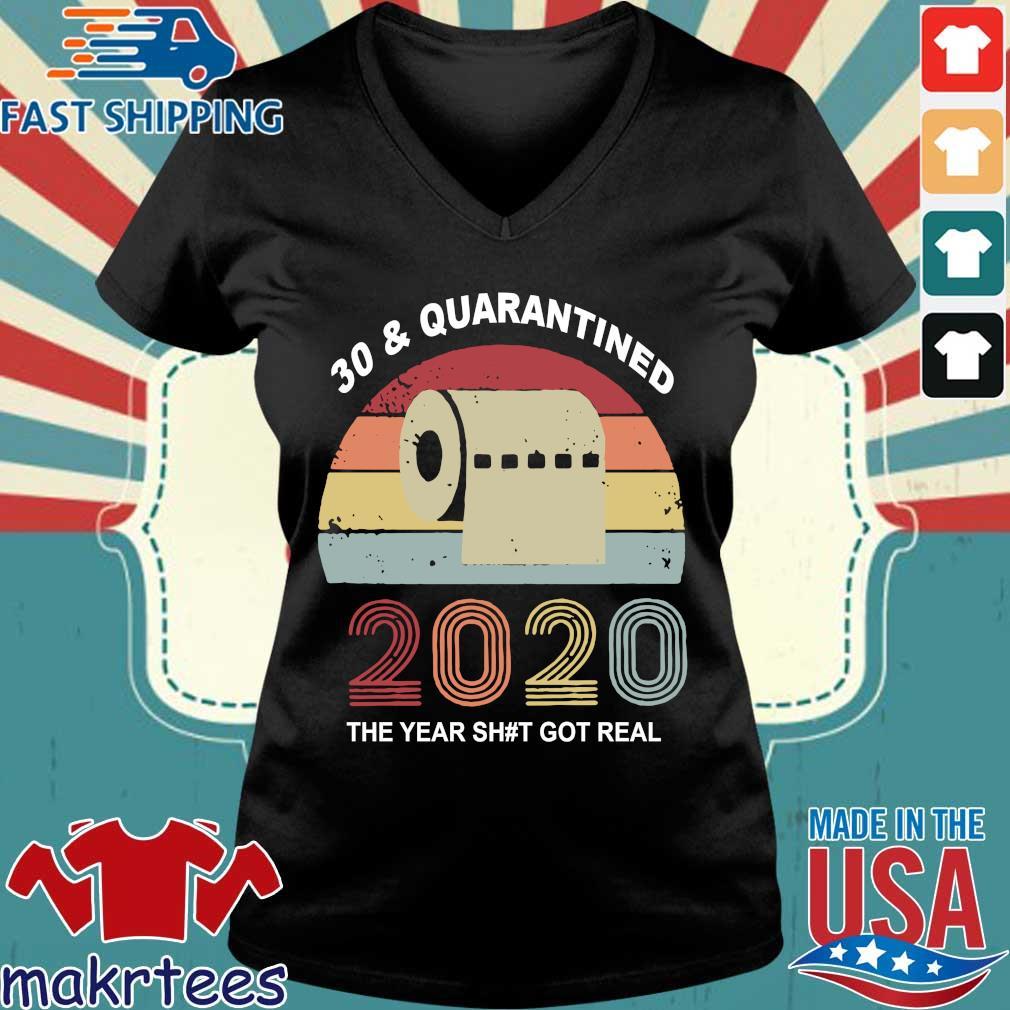 Quarantine Birthday 2020 Toilet Paper Vintage Shirts Ladies V-neck den