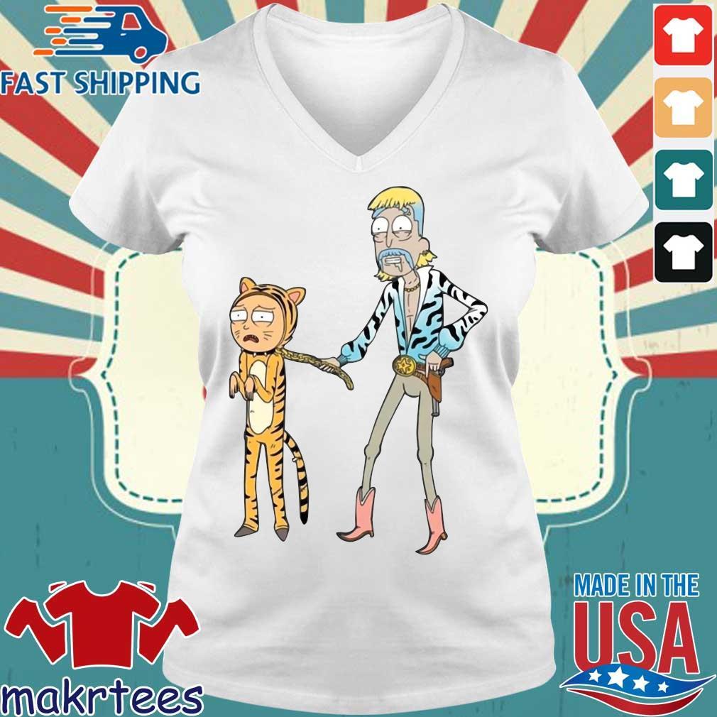 Rick And Morty Joe Exotic Tiger T-Shirt Ladies V-neck trang