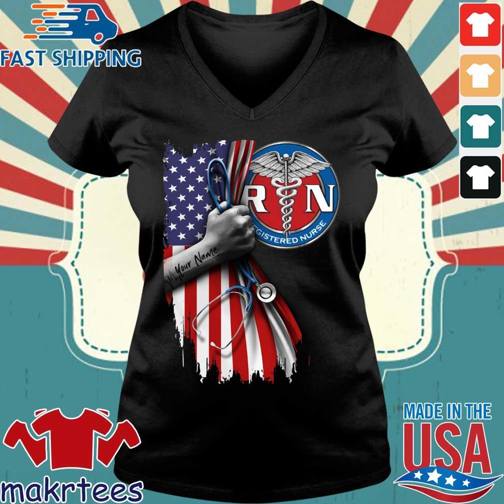 Rn Registered Nurse Inside American Flag Shirt Ladies V-neck den
